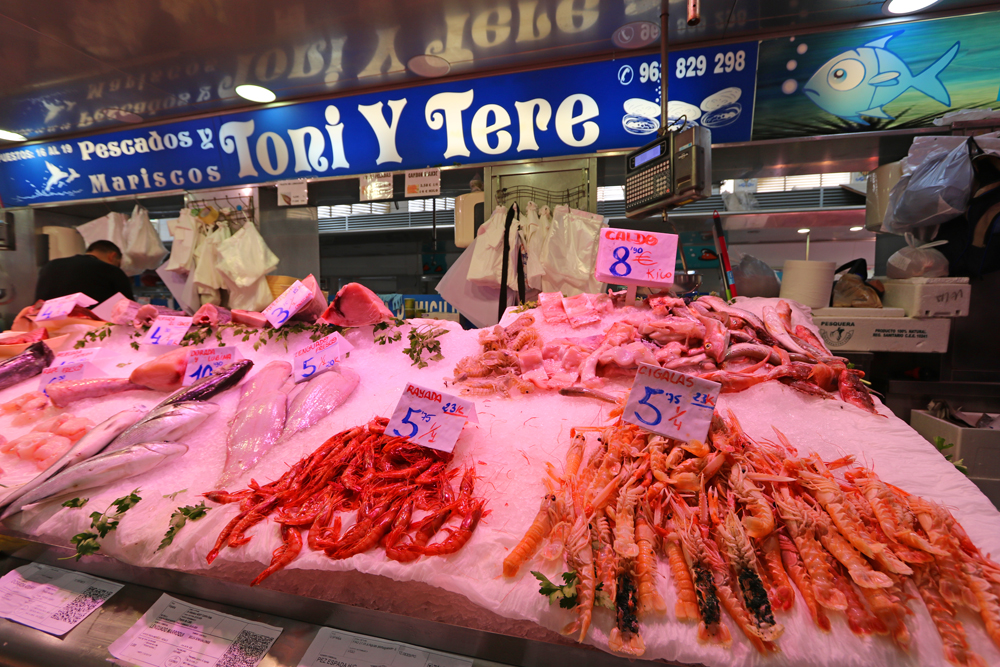 seafood at Valencia's Central Market